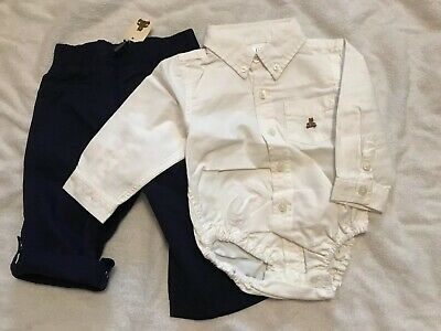 Baby Gap Boys Outfit Navy Pants white button-down long sleeve shirt 12-18 M NEW