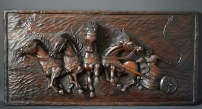 French Rare Large Hand Carved Wood Wall Panel of Horses Chariot