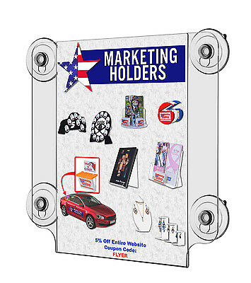 "Window Sign Holder 8.5""w x 11""h Ad Frame with 4 Suction Cups Clear Acrylic"