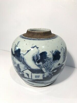 Antique Chinese Export Blue And Grey Stoneware Ginger Jar Early 19th Century