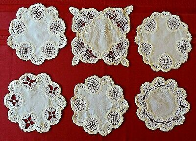6 Antique Victorian Hand Embroidered Tea Mats / Coasters
