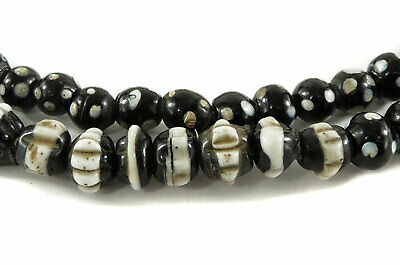 Dog Tooth Black Ruffle Trade Beads Africa 33 Inch SALE WAS $165.00