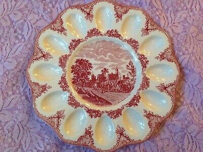 Johnson Brothers Old Britain Castles Pink Deviled Egg Plate Ruthin Castle 1792