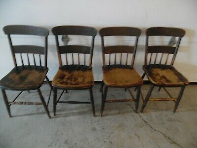 Set of 4 Antique Shabby Cottage Dining Chairs