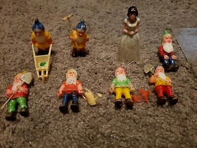 Snow White and the Seven 7 Dwarfs Vintage Cake Topper Decoration Set Lot used