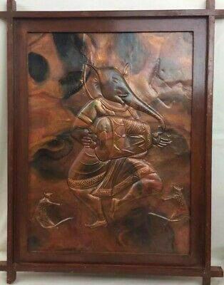14 X 18 Raised Copper Embossed HINDU LORD GANESHA Wall Art Picture Studio Parlor