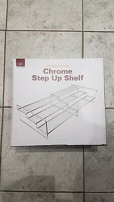 Luxury Heavy Duty Stainless Steel 3 Tier Step Up Design Cupboard & Shelf Chrome