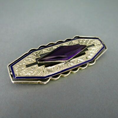 Magnificent Geometric Art Deco Brooch in Silver, Enamel and Glass Stone