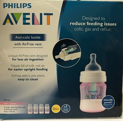 Philips Avent Anti-colic Baby Bottle with AirFree vent, Pink, SCF401/44, 4 Oz