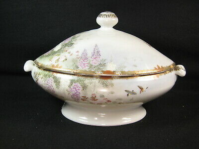 ANTIQUE JAPANESE (c 1920) SIGNED SATSUMA KUTANI CERAMIC IMARI LIDDED SOUP TUREEN