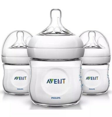 Philips Avent Natural Baby Bottle Clear 4oz 3-pack Anti-colic -New, No box