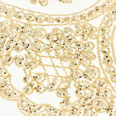 1 Yard Gold Sequins Embroidered Lace Trim Trims Ribbon Applique Sewing Craft DIY