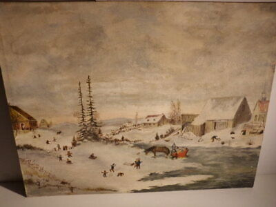 Canada Quebec Naive painting in the Krieghoff style