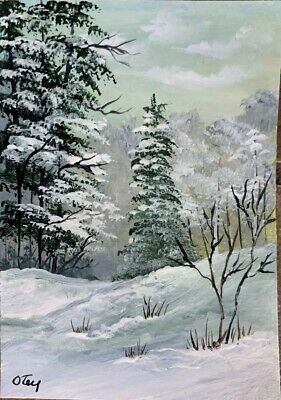 Aceo, acrylic,original, landscape, After The Snow Has Passed By Donna Otey