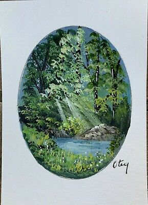 Aceo, acrylic,original, landscape, A Ray Of Light  By Donna Otey