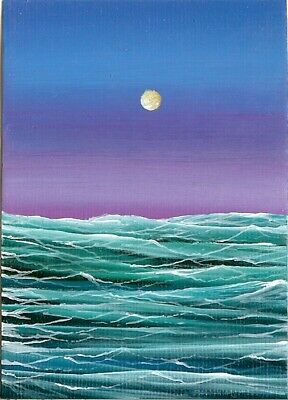 ACEO ORIGINAL Acrylic Rough Sea Ocean Waves Sunset Art Painting ATC HYMES