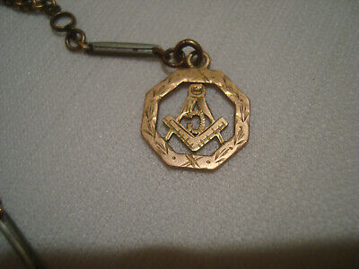 10K Gold Masonic Watch Fob With Old D&C Watch Chain