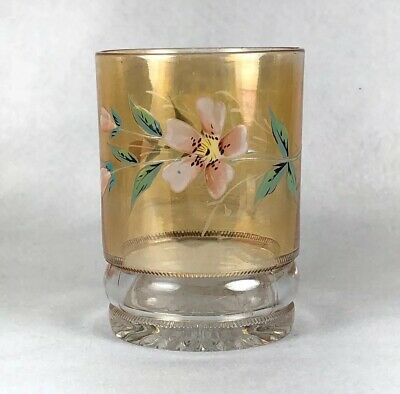 Antique Hensley Orange Luster Drinking Glass with Enameled Hand Painted Flowers