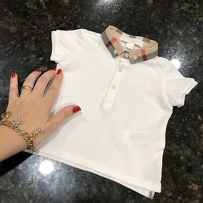 6 Months ( 3m +) Authentic Burberry Baby Boys William Polo Check Collar White