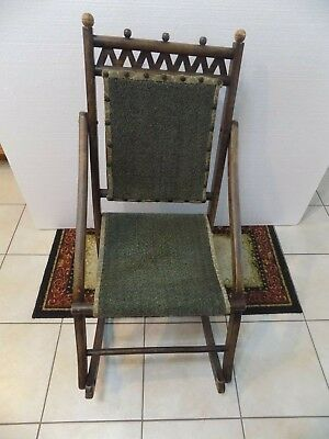 Antique Wood Rocking Chair  Green Upholstered Fold Up