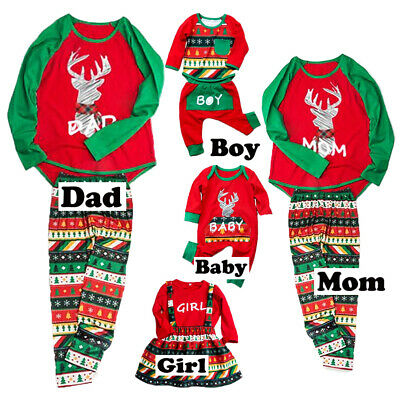 Christmas Family Matching Pyjamas Pajamas PJs Set Xmas Kids Sleepwear Nightwear