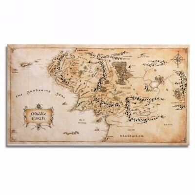 """Map of Middle Earth Lord Of The Rings Silk Cloth Poster Wall Sticker 43 x 24"""""""