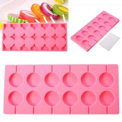 12 Round Shape Silicone Lollipop Mould Tray Candy Chocolate Mold Sticks Pink