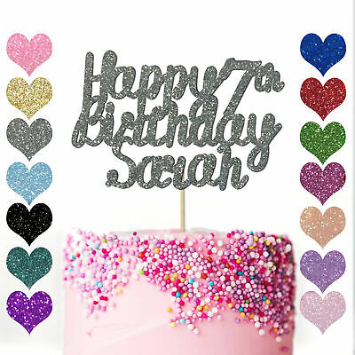 Personalised Any Name & Age Happy Birthday Cake Topper Party Decoration 10th 20
