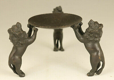 Asian old copper hand carving lion statue oil lamp noble table home decoration