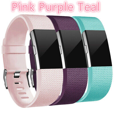 3 Pack Replacement Watch Band Wristband Pink Purple Teal For Fitbit charge 2