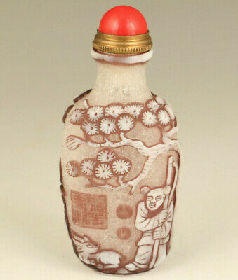 Chinese old glaze Handcarved sheep statue snuff bottle noble gift decoration