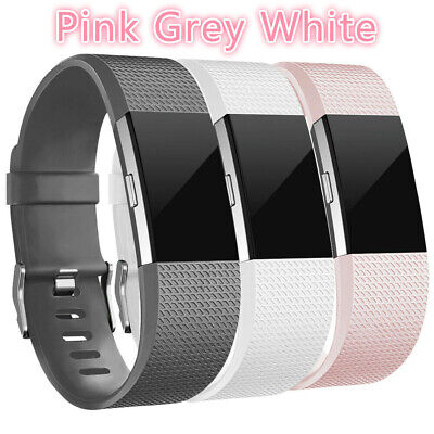 3 Pack Replacement Watch Band Wristband Pink Grey White For Fitbit charge 2