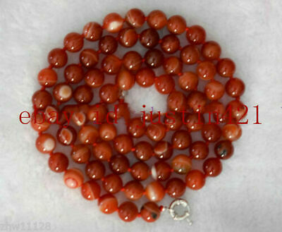 Natural New 10mm Red Striped Agate Gemstone Round Bead Necklace Long 35'' AAA+++
