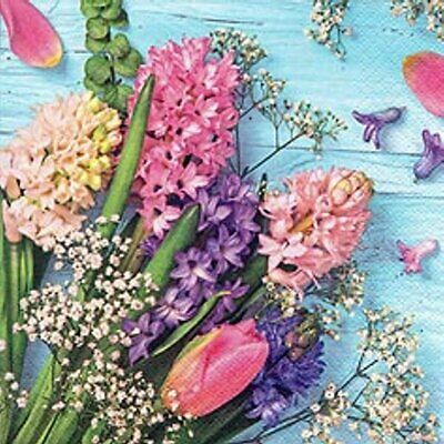 Napkins 20 Piece, Spring, Colorful Hyacinth and Tulip Bouquet 33x33 CM