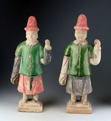 *Sc*A Pair Of Quality Chinese Ming Dynasty Pottery Figures - Attendants!