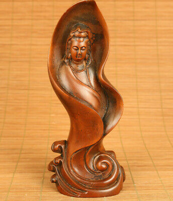 Asian old boxwood hand carved Kwan-yin Buddha statue blessing table decorate