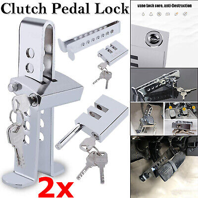 2x Car Stainless Brake Clutch Pedal Lock Steering Wheel Anti-Theft Security Lock