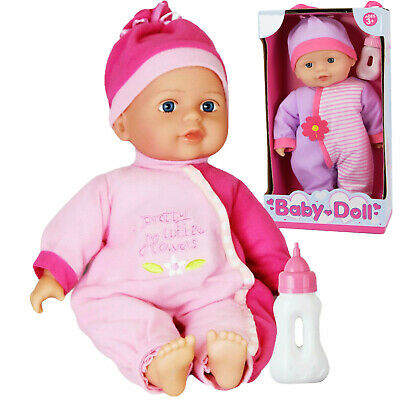 """12"""" Baby Doll With Bottle New Born Soft Bodied Doll Girls Pretend Play Toy"""