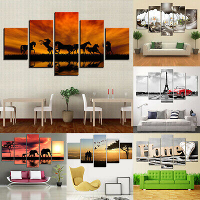 5set HD Framed Prints Modern Abstract Canvas Oil Painting Living Room Decor