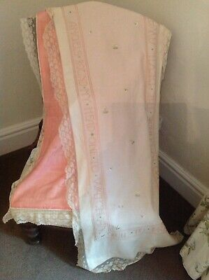 Antique Edwardian 1911 Nursery oblong silk embroidered pram cover Country House