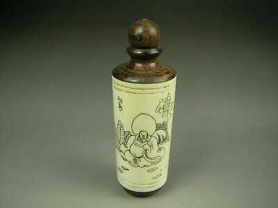 Rare Antique Chinese Hand-carved  Cattle Bone snuff bottle 1904