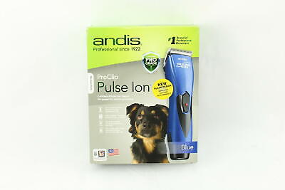 Andis Pulse Ion Professional Cordless Dog Pet Grooming Clipper Kit (Blue) - EUC