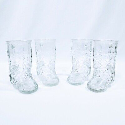 Western Cowboy Boot Glasses Libbey Canada Set of 4 Beer Mugs