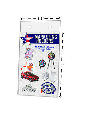 """3.5""""W x 5""""H Small Sign Holder Wall Ad Frame With Holes Clear Acrylic Qty 12"""