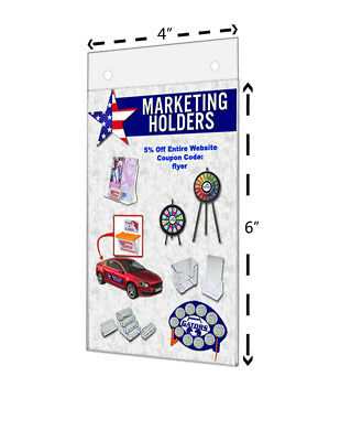 """4""""W x 6""""H Small Sign Holder Wall Ad Frame With Holes Clear Acrylic Qty 6"""