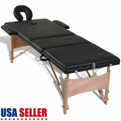 3-Zones Foldable Massage Table SPA Bed Facial Tattoo with Wooden Frame Black