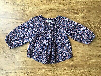 Next ~ Baby Girls Blue Floral Smock Top Blouse ~ Age 3-6 Months