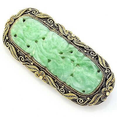 Antique Sterling Silver Carved Green Jade Brooch Pin 16.9 Grams