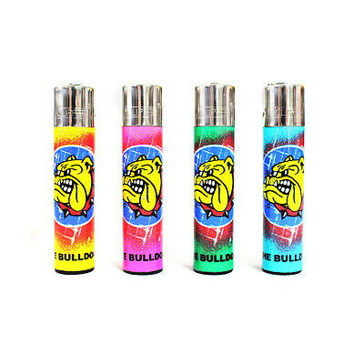 4 Lighters Clipper Gas the Bulldog Rechargeable with Logo Graffiti Multi Colours