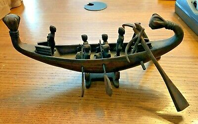 Ancient Egyptian Repro. Lotus Funeral Traveling Boat With Oars Statue Replica